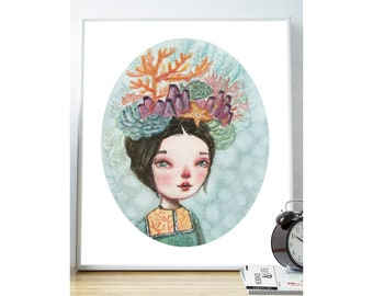 THE REEF - The beauty of the ocean, the coral reefs and beautiful fish adorn this pop surrealist female portrait watercolor girl by Danita