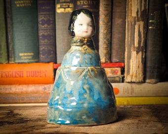 SHIMMERPIECE Original glazed ceramic flower pot / brush holder lid container doll by Idania Salcido Danita Art. Keep artists brush organized