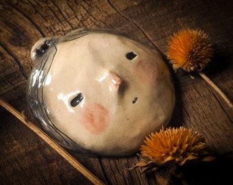 PEACHSPRITE Original wall hanging mask by Danita Art Idania Salcido. Handmade glazed fired ceramic object, great decoration for any home.