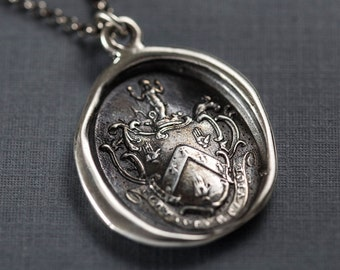 Mermaids Crest - Fight your battles, and win - Wax Seal Crest Necklace