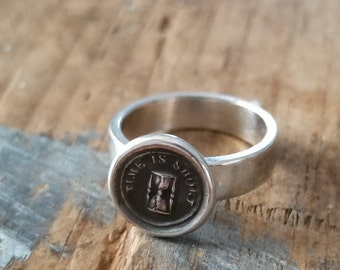 Time is Short Hourglass Wax Seal Ring - Whimsy Ring - 212R