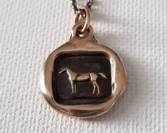 Bronze Horse Necklace Equestrian Jewelry - Horse wax seal with equestrian design - equos - 117