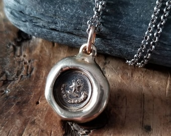 Bronze Star Necklace - Beware I am Here - Wax Seal Necklace in Latin - Cave Adsum Wax Seal Pendant - 315