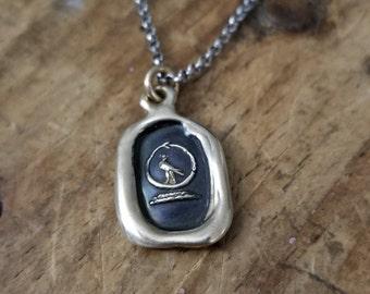 Bronze Eternal Loyalty Swallow and Serpent Wax Seal Necklace Eternal Love - 271