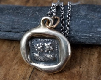 Bronze You are my Destiny - Two Trees Wax Seal Necklace - In Vain Destiny Separates Us - 310