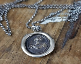 Bronze Confidence Wax Seal Necklace - Fist full of wheat - My Harvest Will Arrive - 195