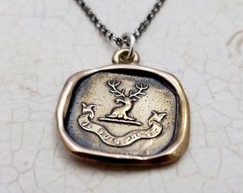 Heraldic Stag pendant in Bronze - Wax Seal Crest Necklace with text 'Je Suis Prest' or 'I Am Ready' - 200B