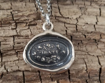 Bronze Trusted Wax Seal necklace in Italian - Fidati - Trust necklace - 109