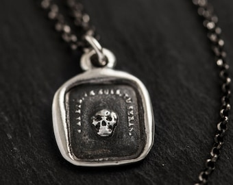 Skull Necklace Memento Mori - From an Antique wax seal of a skull inscribed 'So as you are so once was I' - 107