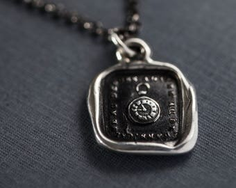 Pocket Watch Wax Seal Necklace - Stiff Upper Lip - Keep Calm and Carry On - Wax seal Jewelry - 137