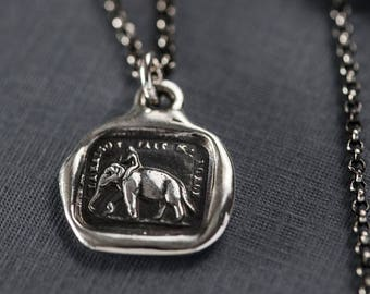 Elephant Strength wax seal necklace from antique french seal - My Strength is my Virtue - 229