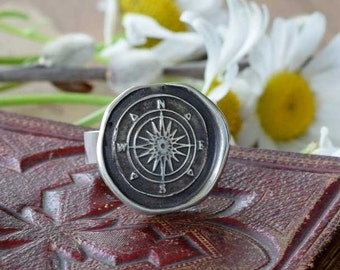 Compass Rose Wax Seal Ring - Compass jewelry - 332
