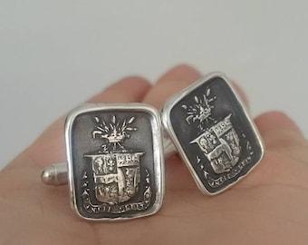 Truth Prevails Wax Seal Crest Cufflinks - Wheat and Crown - 138 Heraldic Crest