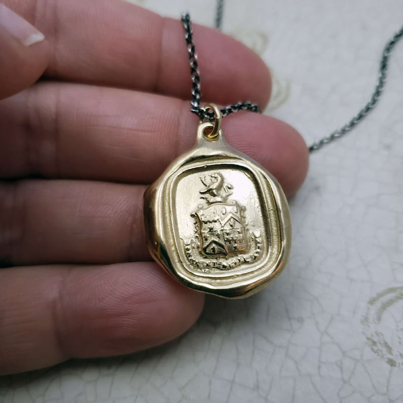 214G Gold Wax seal Jewelry with meaning Good and beautiful enough Lion Jewelry Self Acceptance Lion Necklace with crest in French