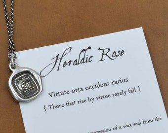 Heraldic Rose - Wax Seal Crest Necklace in Latin - Do the right thing - 218