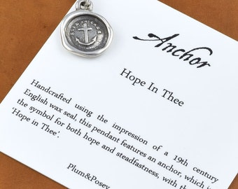 Mini Anchor Necklace - Hope in Thee Wax Seal Necklace - Anchor Jewelry - 158