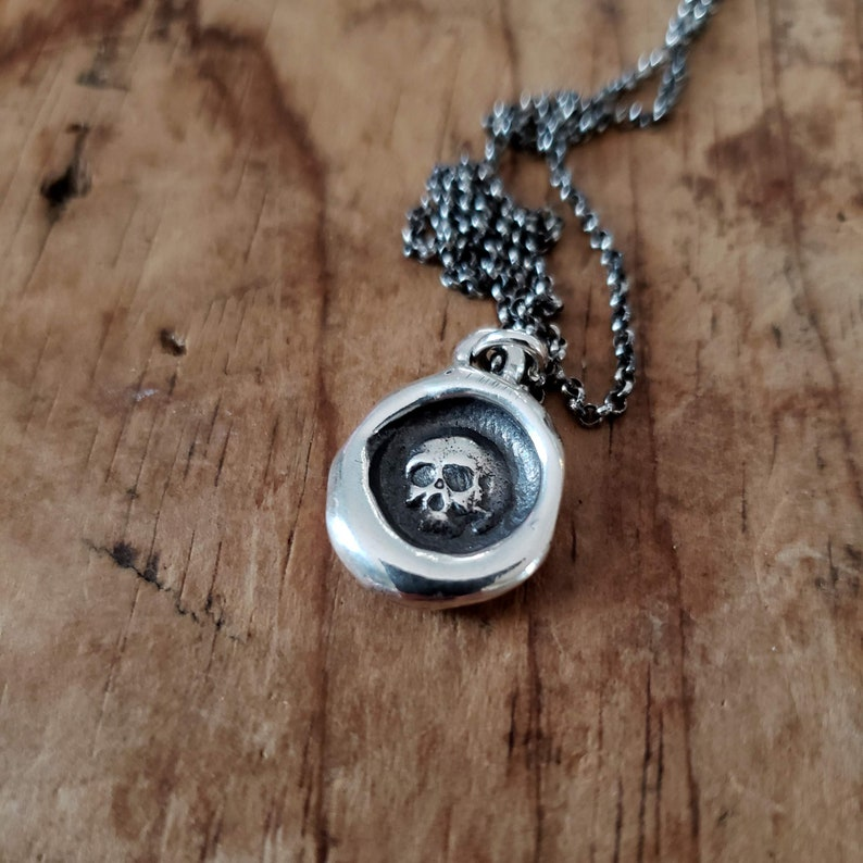 Skull  Sterling Silver Wax Seal Pendant Necklace  Memento image 0