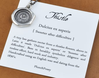 Thistle Wax Seal Crest Necklace in Latin - Sweeter after Difficulties - 261