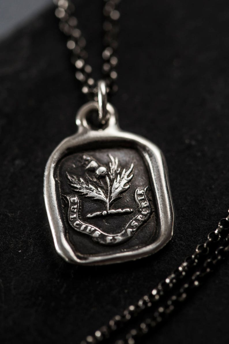 Sweeter after difficulties Thistle necklace wax seal jewelry  image 0