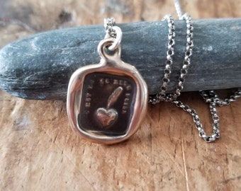 Bronze My heart is sincere Wax Seal Necklace - Heart and Feather - A sincere heart - 279