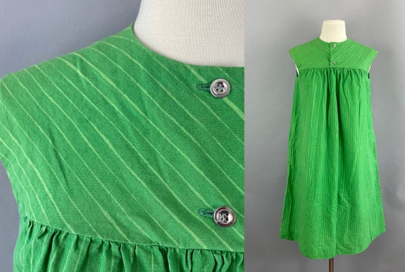 Vtg 60s Marimekko Suomi-Finland Green Lime striped