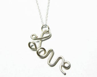 Love Necklace - Wire Wrap Love Pendant with a 18-22 inch sterling silver necklace