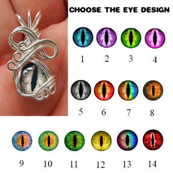 Wire Wrap Glass Eye Pendant Mini Dragon Eyeball Gothic Etsy