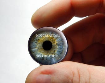 Glass Eyes - Realistic Blue Human Doll Taxidermy Eyes Handmade Glass Cabochons for Steampunk - Pair or Single - You Choose Size