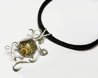 Wire Wrap Steampunk Gears Glass Cameo Pendant with Necklace