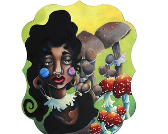 Original Lowbrow Art Magically Delicious Oil Painting of magic mushrooms & pills with a sad lady weird strange lithium small to medium size