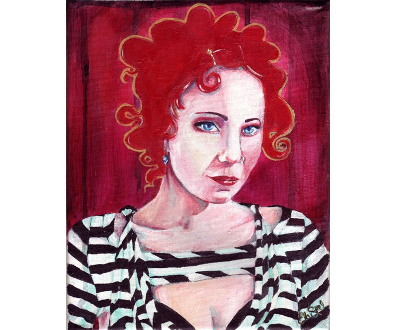 Anneke Bright Red Portrait Painting With Black And White Stripes And Gold Detail Original 8x10 Acrylic Painting Anneke Van Giersbergen