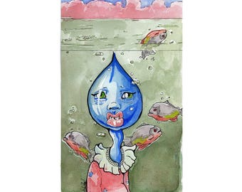 Original Watercolor Illustration - dropped in Art by Ela Steel - small teal purple red  lowbrow art