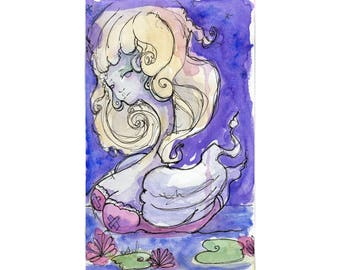 Original Watercolor Illustration - swan woman Art by Ela Steel - green blue orange strange lowbrow art