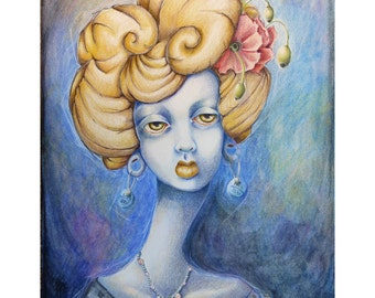 Poppy - Original Art colored pencil drawing in shades of dark blue, blonde yellow, and red - sad melancholy dark art lowbrow mental health