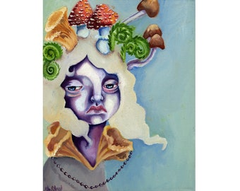 Sprouting - Original oil painting - ferns & mushrooms on a sullen sad girl