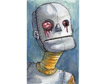 Original Watercolor Illustration - robot Art by Ela Steel - blue teal strange lowbrow art