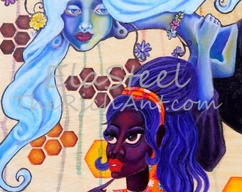 Original oil painting Betty & Veronica - lowbrow pop surreal art by Ela Steel and RichAnt - 60s inspired painting, hippie mod retro beehive