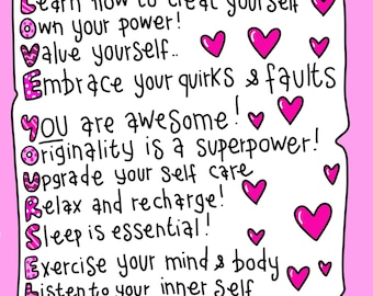 Self love list print