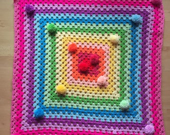 Mini all the rainbows pom pom throw of happiness REDUCED..