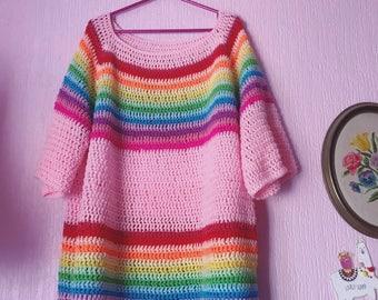 Kittypinkstars rainbow slouch sweater