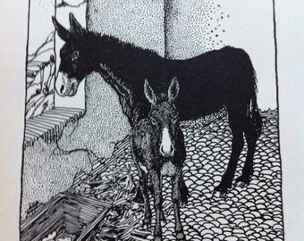 Antique Beppo the Donkey 1938 Book Plate Print b