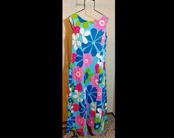 0bf760b5e53c Sears Hawaiian Fashions Vintage Psychedelic Floral Maxi Sheath Dress