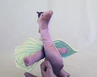 Purple Satin Stuffed Dragon Toy