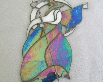 Stained Glass Wizard in Blue Iridescent Glass