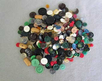 Large Assortment of Vintage Buttons in a Tin