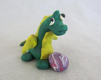 Green Polymer Clay Dragon with Egg
