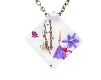 """Real Dried Flower Resin Necklace - Ladybird Collection - """"Logic"""""""