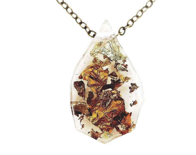 Geometric Gold Flake Resin Necklace | 001