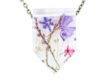 """Real Dried Flower Resin Necklace - Ladybird Collection - """"Unity"""""""