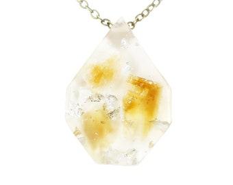 Citrine and Silver Leaf Eco Resin Necklace, November Birthstone Jewelry, Citrine Pendant